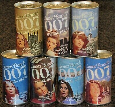 $65 • Buy James Bond 007 REPLICA / NOVELTY Beer Cans, Complete Set Of 7, Paper Label