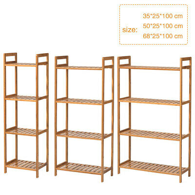 £27.95 • Buy Solid Wood Storage Shelf Shelving Unit Bookcase Standing Wooden Shelving 4 Tiers