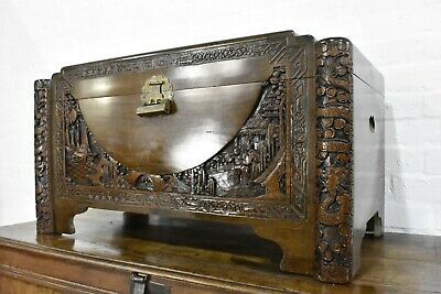 Carved Camphor Wood Oriental Travelling Chest - Blanket Box  • 180£