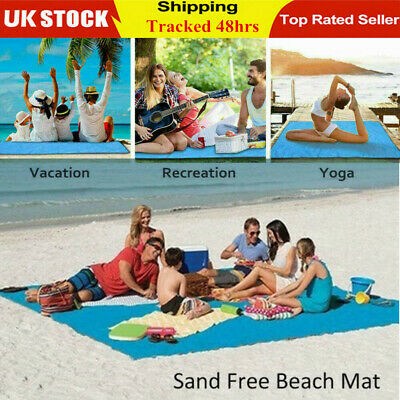 Extra Large No Sand Beach Mat Rug Picnic Blanket Waterproof Camping Travel Pack • 8.99£