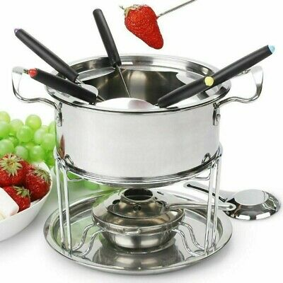 £15.49 • Buy Stainless Steel Cheese Chocolate Fondue Set Melting Pot With 6 Forks