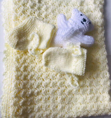 £9.99 • Buy Hand Knitted Baby Blanket , Toy , Mittens & Bootees  Matching Set 🌸 Brand New