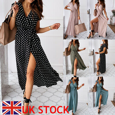 £12.99 • Buy Women Polka Dot Maxi Wrap Dress Ladies Summer Holiday V Neck Party Prom Gown UK