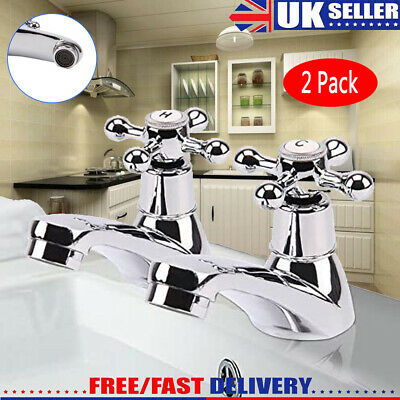 £11.99 • Buy Traditional 2Taps Twin Hot Cold Mixer Tap Bath Bathroom Basin Sink Chrome Luxury