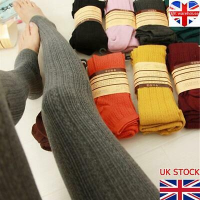 £5.82 • Buy Womens Ladies Warm Thick Chunky Cable Ribbed Knitted Leggings Skinny Wool Pants