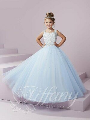 £187.68 • Buy Authentic Tiffany Princess 13494 Sky Blue White Girls Pageant Ball Gown Sz 6 NWT