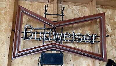 $ CDN112.47 • Buy Vintage Budweiser Beer Bow Tie Neon Advertising Sign (non Working) PARTS