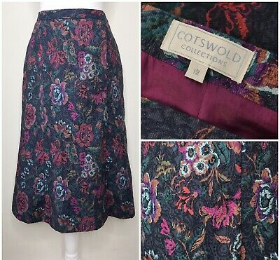 Cotswold Collection Skirt UK 12 Lined  Cotton Blend Floral Skirt Calf Length • 24.99£