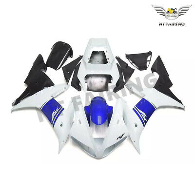 $489.99 • Buy WOO WOO Fit For Yamaha R1 YZF 2002-03 White Blue Injection ABS Fairing Kit E029