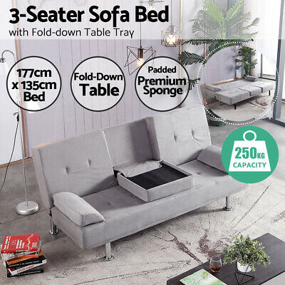 AU296.99 • Buy Sofa Bed Lounge Fabric Futon 3 Seater Couch Cup Holder Tray Table Fabric Grey