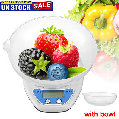 £6.59 • Buy Kitchen Scales 5kg Digital Lcd Electronic Cooking Food Measuring Bowl Scale