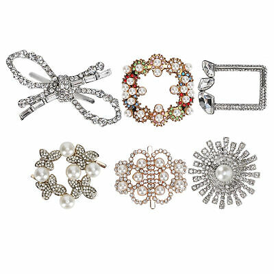 £6.03 • Buy 4 Pcs Diamond Pearl Decorations Shoe Clips Alloy Jewelry Ornaments 6 Types