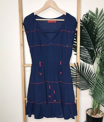 AU17 • Buy Tigerlily Blue Dress Size 8 Red Embroidered Tassels V Neck Sleeveless Casual
