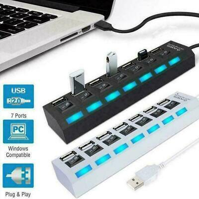 AU5.79 • Buy 7-Port USB 2.0 Multi Hub + High Speed Adapter ON/OFF Mouse For Laptop PC R4I5