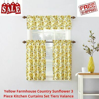 $24.24 • Buy Yellow Farmhouse Country Sunflower 3 Piece Kitchen Curtains Set Tiers Valance