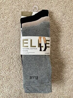 Elle Socks 3 Pairs Natural Cotton Ankle Socks Smooth Hand Linked Toe Seams 4-8 • 9.99£