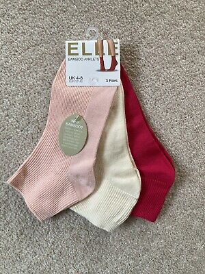 Elle Bamboo Anklets Socks 3 Pairs Pink Cream Peach UK 4-8 • 9.99£