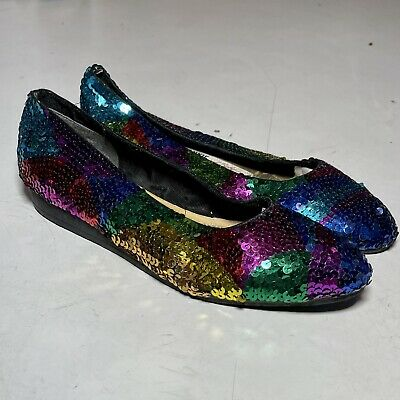$19 • Buy Vintage FRANKIE And BABY Beverly Feldman Colorful Sequin Detail Ballet Flats 8