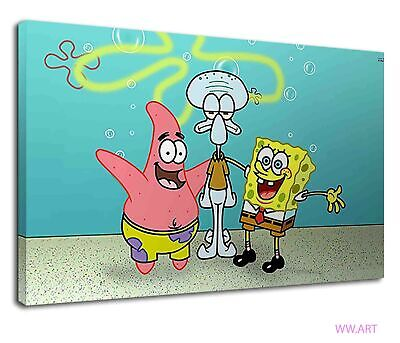 £38.99 • Buy Spongebob And Patrick Standing With Squidward Canvas Wall Art Picture Print