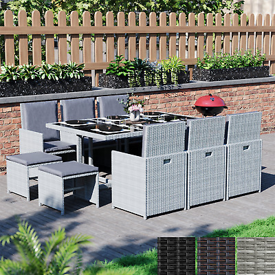 £429.94 • Buy Rattan Garden Furniture 8 10 Seater Dining Table Chairs Cube Set Outdoor Patio