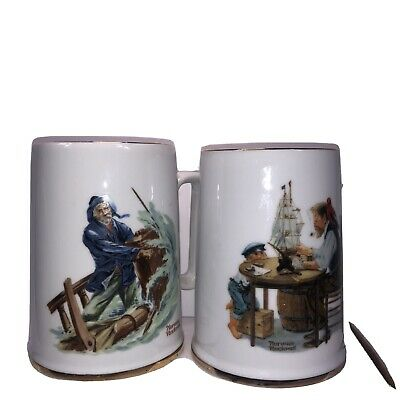 $ CDN31.23 • Buy NORMAN ROCKWELL  BRAVING THE STORM  & For A Good Boy Porcelain Mugs