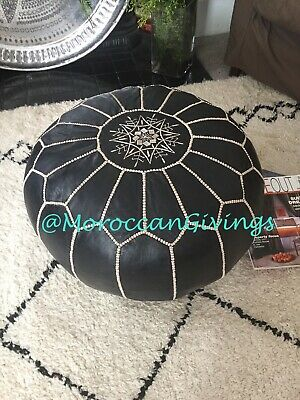 100% Leather Handcrafted Moroccan Pouffe / Floor Cushions / Dark Marlin Blue • 54£