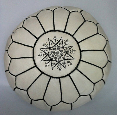100% Leather Handcrafted Moroccan Pouffe White With Black Embroidery • 54£
