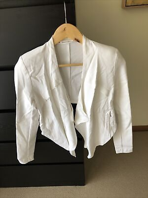 AU20 • Buy Metalicus Womens Jacket Blazer White Collarless Soft Tailoring Size 0