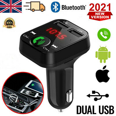 £5.79 • Buy In Car Wireless Bluetooth FM Transmitter MP3 Player 2 USB Charger Handsfree Kit