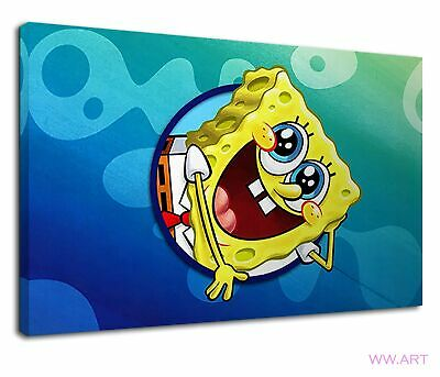 £38.99 • Buy Spongebob With Smiley Face Digital Illustration Canvas Wall Art Picture Print