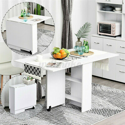 £66.99 • Buy Dining Kitchen Table Two Drop Leaf Folding Expandable W/ Wheels Storage Funiture