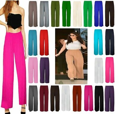£4.99 • Buy Ladies Womens Plus Size Plain Palazzo Trousers Baggy Wide Leg Flared Pants 8-26