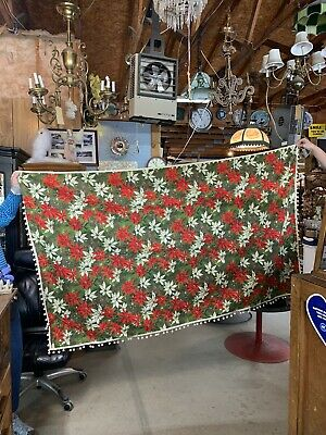$ CDN47.31 • Buy Vintage Handmade Christmas Tablecloth Poinsettias Pom Poms Extra Long Banquet