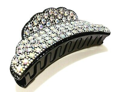 £8.99 • Buy New Large Sparkly Silver Diamante Bling Wide Hair Clip Claw Grip Butterfly Clamp