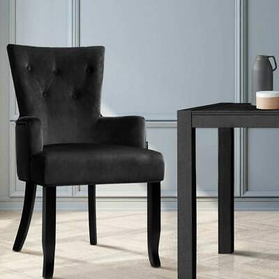 AU131.99 • Buy Artiss Dining Chairs French Provincial Chair Velvet Fabric Timber Retro Black