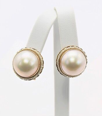$725 • Buy 14K Yellow Gold Mabe Pearl Earrings – Omega Clip Backing
