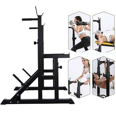 $ CDN129.94 • Buy Heavy-duty Adjustable Squat Rack Stands Barbell Bench Press Dipping Station