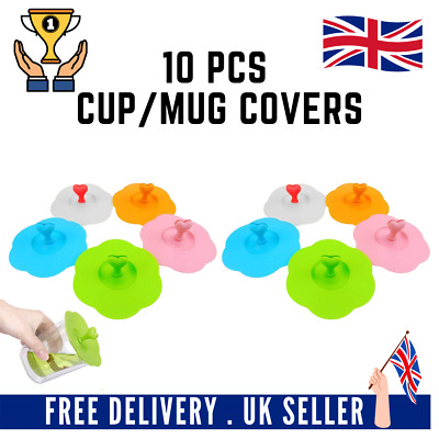 £7 • Buy 10 Pcs Silicone Cup Lid Glass Drink Cover Anti-dust Coffee Caps Lid Mug Seal UK