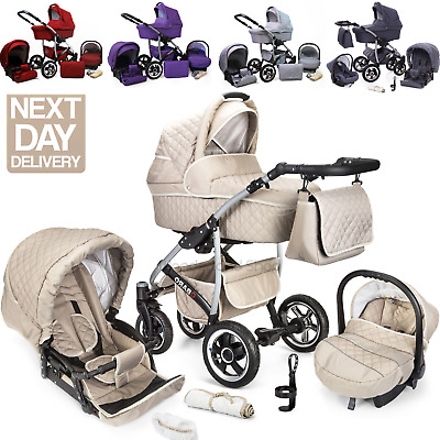 £298 • Buy Baby Buggy Pram Q-B Pushchair Car Seat Carrycot 3 In 1 Travel System From Birth
