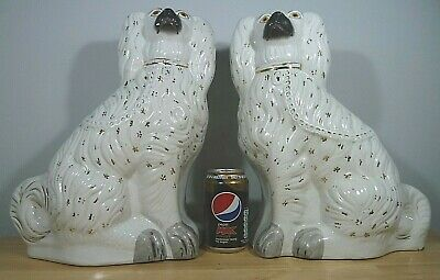 £44.99 • Buy Very Large Pair Antique Staffordshire Fireside Mantelpiece Spaniel Dogs 35.5cm