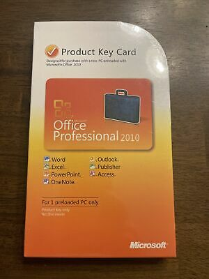 £146.19 • Buy Microsoft Office 2010 Professional Product Key Card (PKC) =SEALED RETAIL BOX=