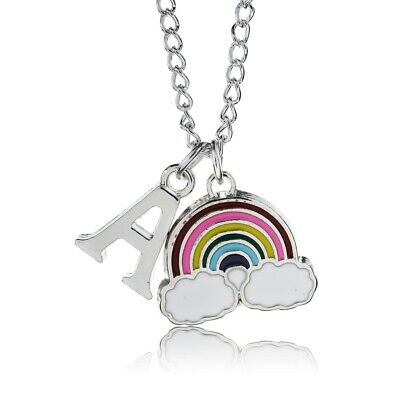 £3 • Buy Rainbow Necklace Childrens Personalised Letter Alphabet A-Z Silver Plated