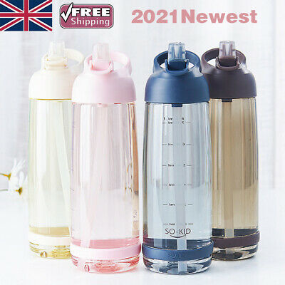 £7.99 • Buy Water Bottle With Straw Plastic BPA Leakproof Sports Travel Plastic Drinks Mugs