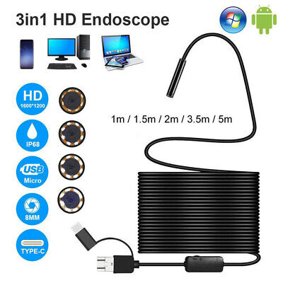 AU15.25 • Buy 3 In 1 USB Type-C Endoscope Inspection Borescope 5.5/7/8mm Lens HD Camera IPR WH