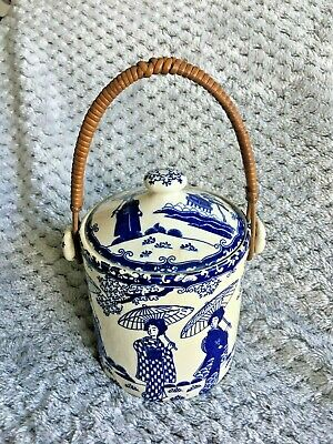 £17 • Buy Rare Antique Oriental Blue & White Tea Caddy With Lid ~ Bamboo Handle ~ Unmarked
