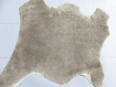 £31.94 • Buy Sheepskin Shearling Leather Hide Curly Plush Hair Taupe W/smooth Distressed Back