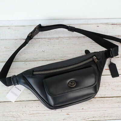 $159.95 • Buy NWT Coach C1277 Heritage Leather Belt Bag Fanny Pack In Black
