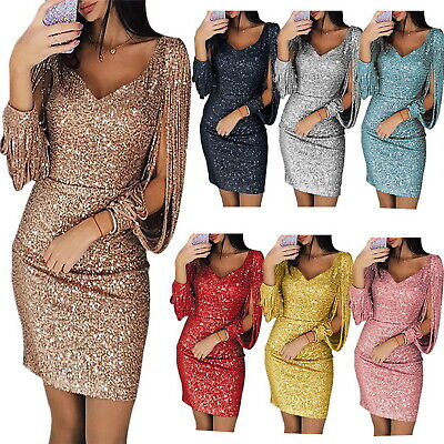 £13.28 • Buy Women Long Sleeve Sequin Bodycon Dress Evening Party Ball Gown Dresses Plus Size