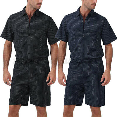$16.24 • Buy Fashion Mens Jumpsuit Short Sleeve Cool Loose Romper Striped Shorts Trousers UK