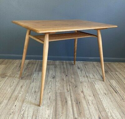 £695 • Buy Vintage Blue Label Ercol Breakfast Table / Home Office Desk With Magazine Shelf